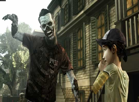 Clementine se assustando com zombie em the walking dead the game