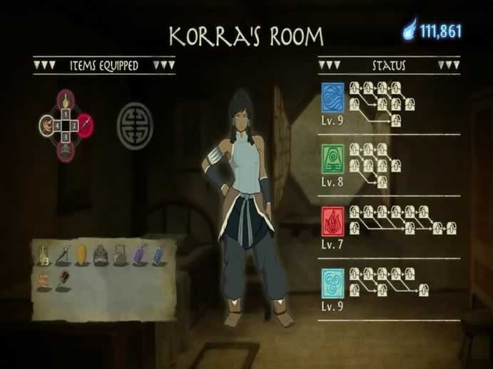 Menu de itens de The Legend of Korra