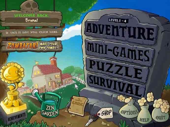 Menu principal do jogo Plants Vs Zombie