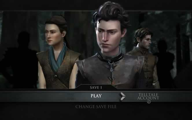O menu do jogo Game of Thrones da Telltale