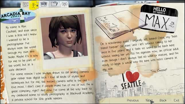 O menu estilizado de Life Is Strange