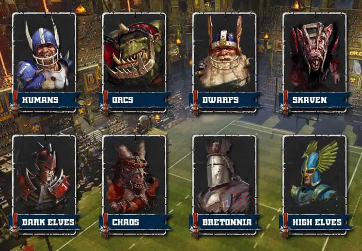 As raças do jogo Blood Bowl 2