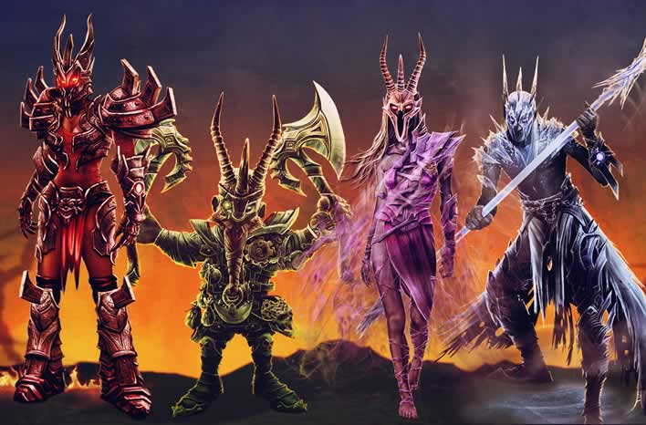 Os quatro personagens de Overlord Fellowship of Evil