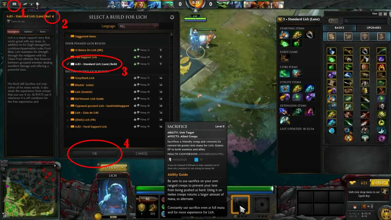 Usando as builds automaticas de DOTA 2