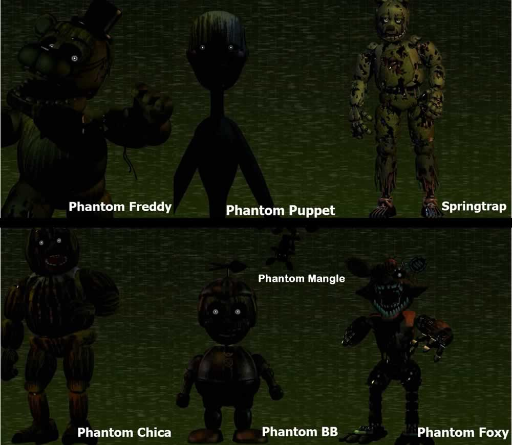 Foto de todos os animatrônicos de Five Nights at Freddy's 3