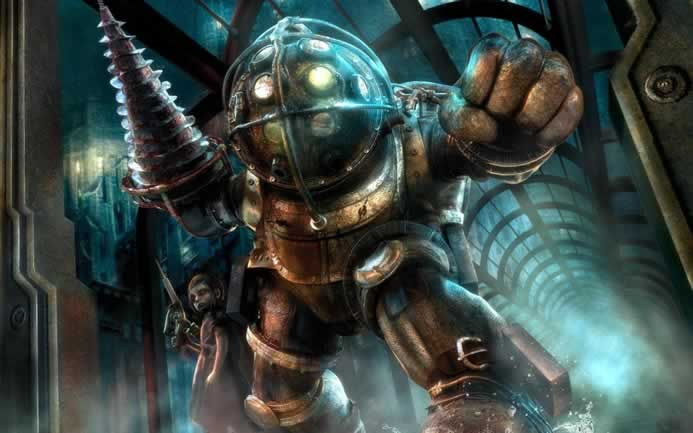 Big Daddy e Little Sister em Bioshock 1