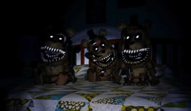 Mini Freddys na cama em Five Nights at Freddy�s 4
