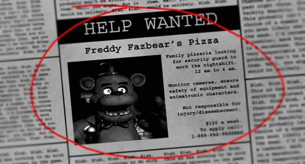 Cartaz do primeiro fnaf help wanted