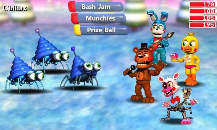 FNAF World personagens Chillax insetos azuis