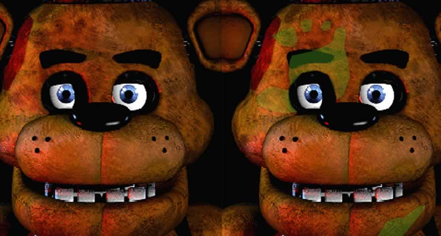 Marca no rosto do Freddy Fazbear
