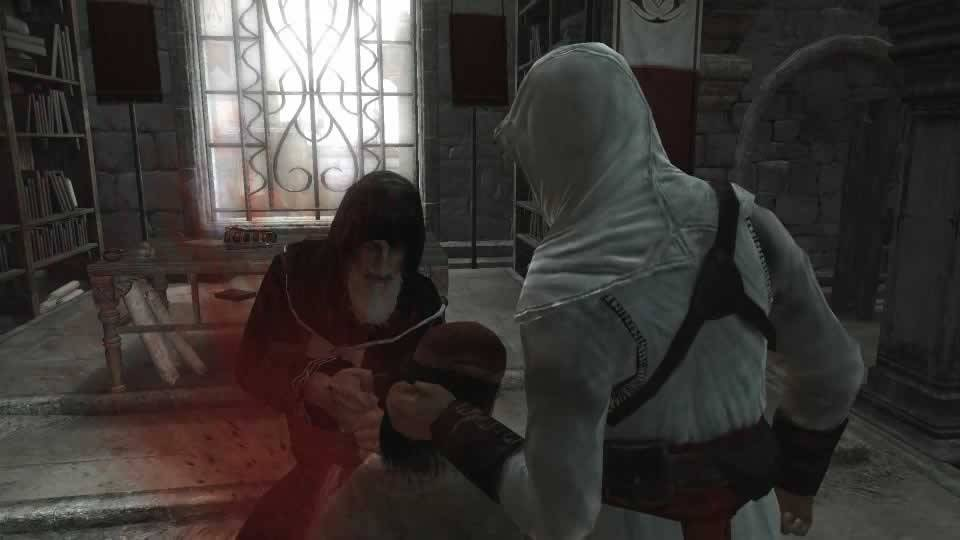 Al Mualin executando o traidor Masun em Assassin's Creed