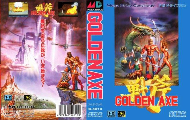 Capa japonesa do golden axe para mega drive