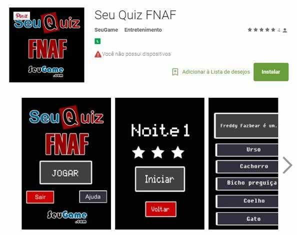 O melhor Quiz do Five Nights At Freddy's para Android