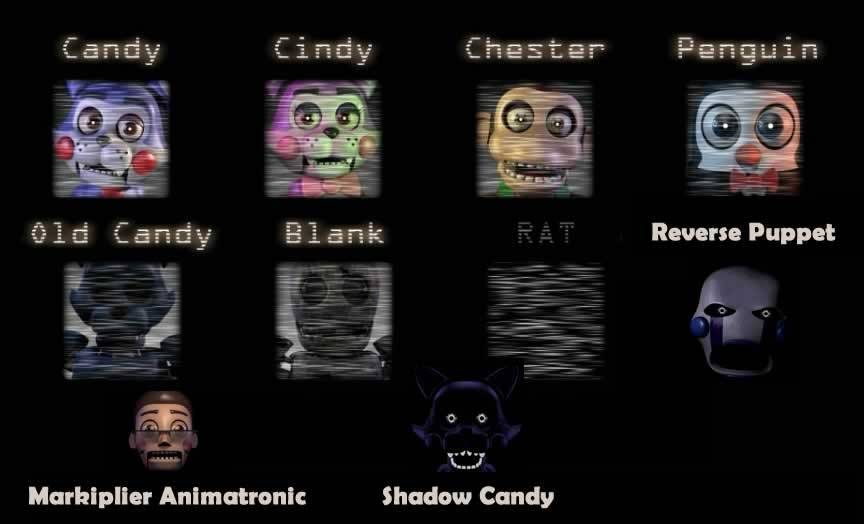 Todos os animatrônicos de Five Nights At Candy's