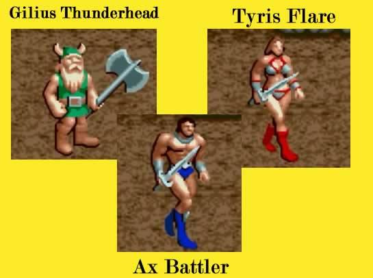 personagens principais de golden axe