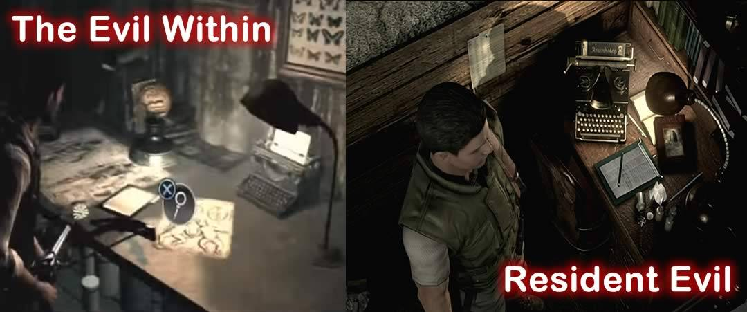 The evil within e Resident Evil máquina de escrever