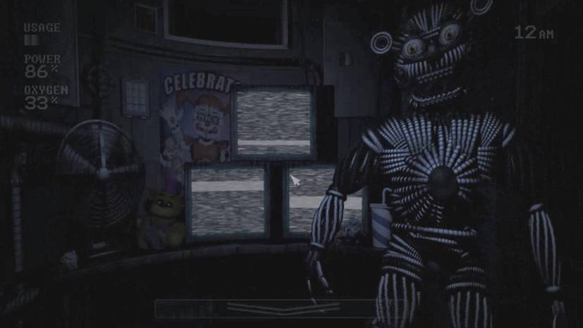 Yenndo dentro da sala na Custom Night