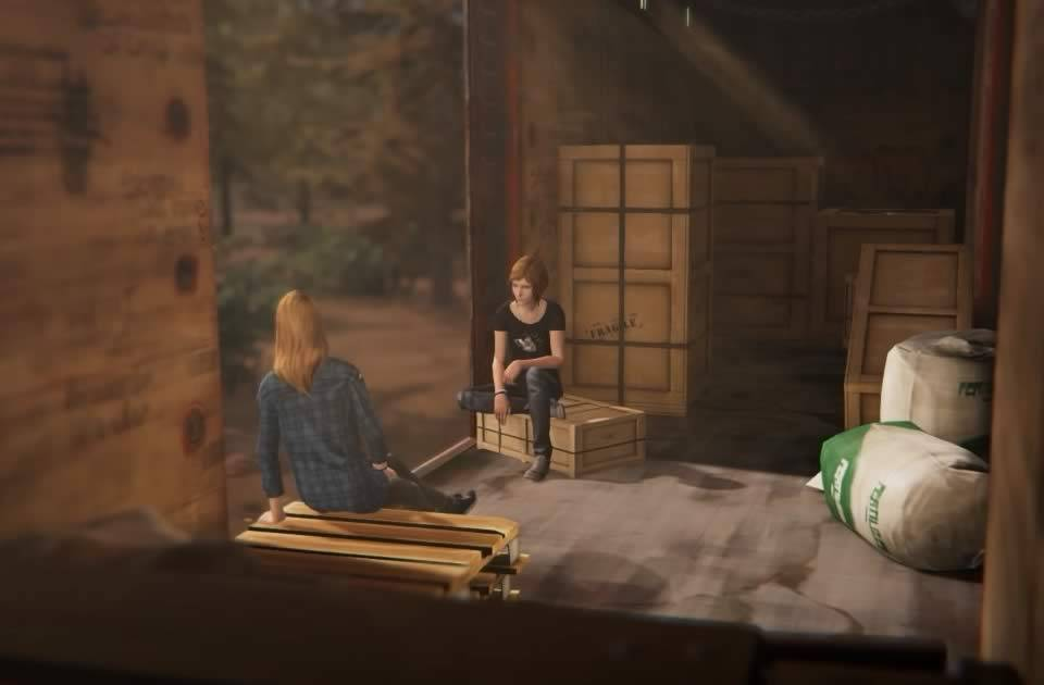 Chloe e Rachel no vagão de trem em Life is Strange Before the Storm