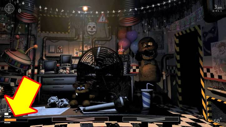 A barra de ruído alaranjada em Ultimate Custom Night