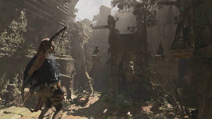 Tumba das estátuas penduradas na selva Shadow of the Tomb Raider